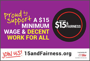 15 and Fairness campaign sign