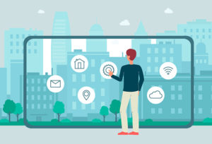 illustration: man using person-sized device in front of cityscape (iStockphoto)