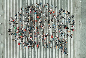 photo: speech bubble made of people photographed from above (iStockphoto)