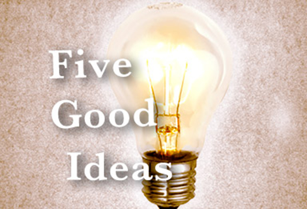 "Lightbulb with words ""Five Good Ideas"""