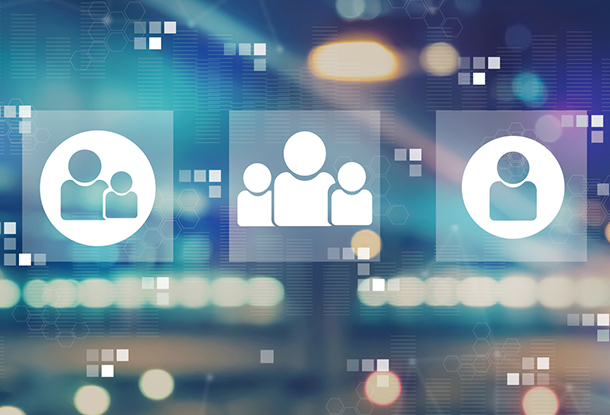people icons, blurred background (iStockphoto)