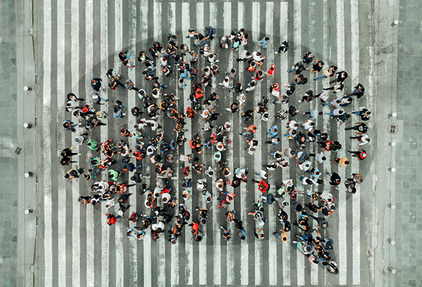 photo: High Angle View Of People forming a speech bubble (iStockphoto)