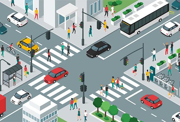 illustration: isometric image of busy city block (iStockphoto)