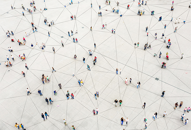 photo: Aerial view of crowd connected by lines (iStockphoto)