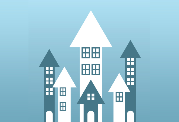 illustration: buildings with arrow-shaped roofs (iStockphoto)