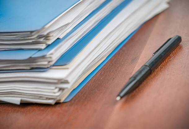 Stack of files with selected focus - iStockphoto