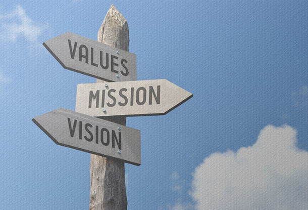 Signpost - Values, Mission and Vision (iStockphoto)
