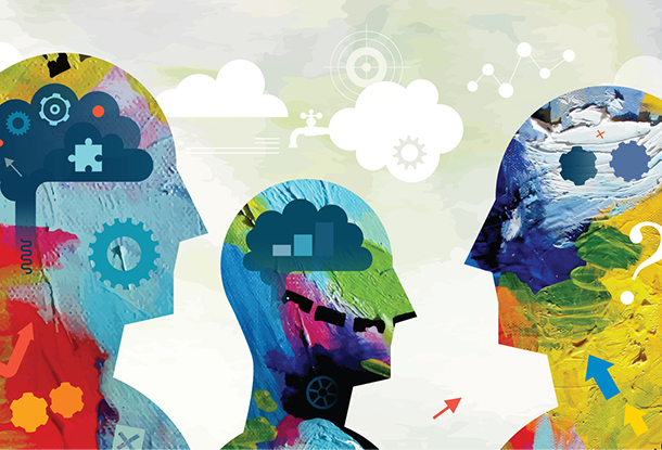 image: silhouette heads with rich tapestry of ideas (iStockphoto)