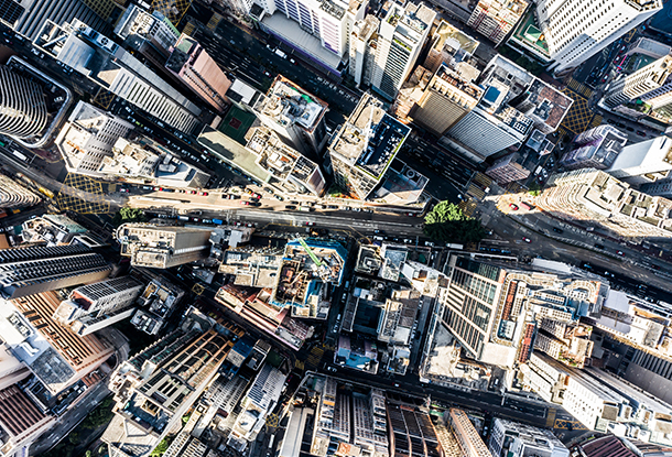 photo: overhead view of city (iStockphoto)