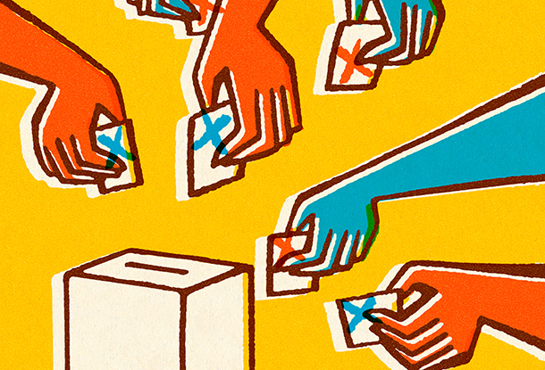 image: drawing of hands with ballots reaching for box (iStockphoto)