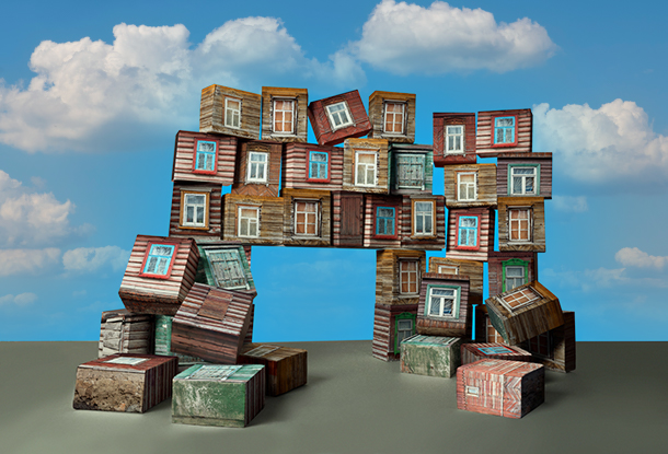 image: rooms stacked like building blocks (iStockphoto)